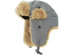 35f18fef96869 Unisex Dark Gray Canvas Trapper Hat Faux Fur Warm Winter Aviator ...