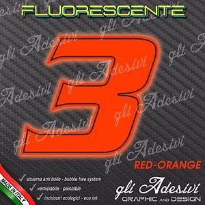 Adesivo Stickers NUMERO 2 moto auto cross gara Giallo FLUORESCENTE 10 cm