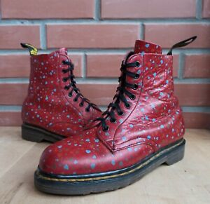 Vintage-Dr-Martens-1460-Pascal-England-Women-6-UK-8-US-Small-Hearts-Red-8-eye