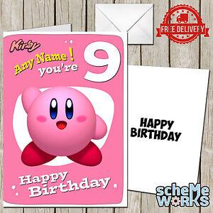 kirby personalised greeting birthday card super smash nintendo mario