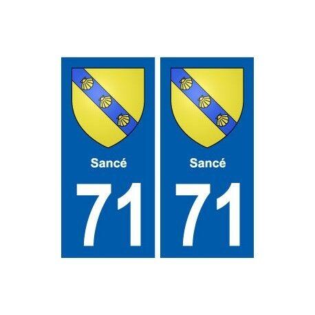 71 Sancé blason autocollant plaque stickers ville -  Angles : droits
