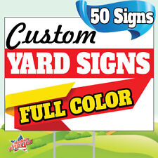 50 18x24 Yard Signs Custom Full Color 2 Sided Screen Printed Free Stakes 10x30