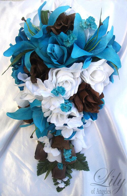 17pcs Wedding Cascade Bridal Bouquet Silk Flower Teardrop TURQUOISE braun Weiß