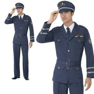 Blue WW2 Air Force Captain Costume NEW Hat /& T.. with Trousers Jacket