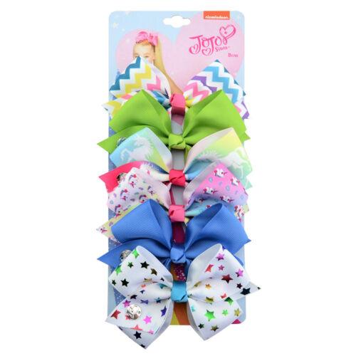 New 6Pcs//Set Rainbow Printed Knot Ribbon Hair Bow Lots For Girls Baby