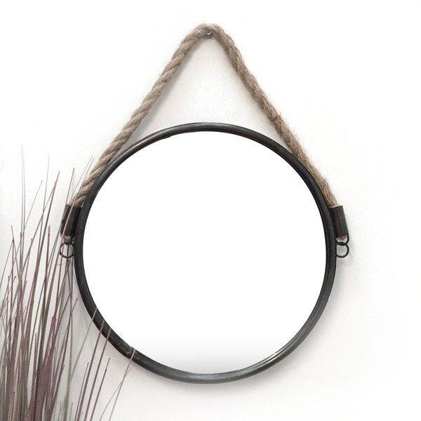 Wall Mounted Round Porthole Mirror Hanging Rope Black Circular Bathroom Hallway Ebay