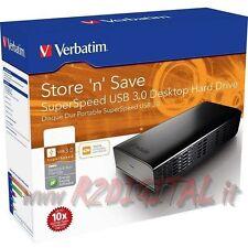 "HARD DISK VERBATIM 1TB 47670 USB 3.0 5Gbps ESTERNO HD 3,5"" POLLICI 1000 Gb PC"