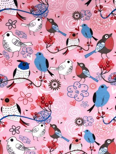 Jersey sustancia niños sustancia amor pájaros rosa anchura 150 cm a partir de 50cm