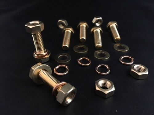 FLAT /& SPRING WASHERS M6 BRASS BOLTS AND NUTS FULL THREAD Pack of 6,12 or 24
