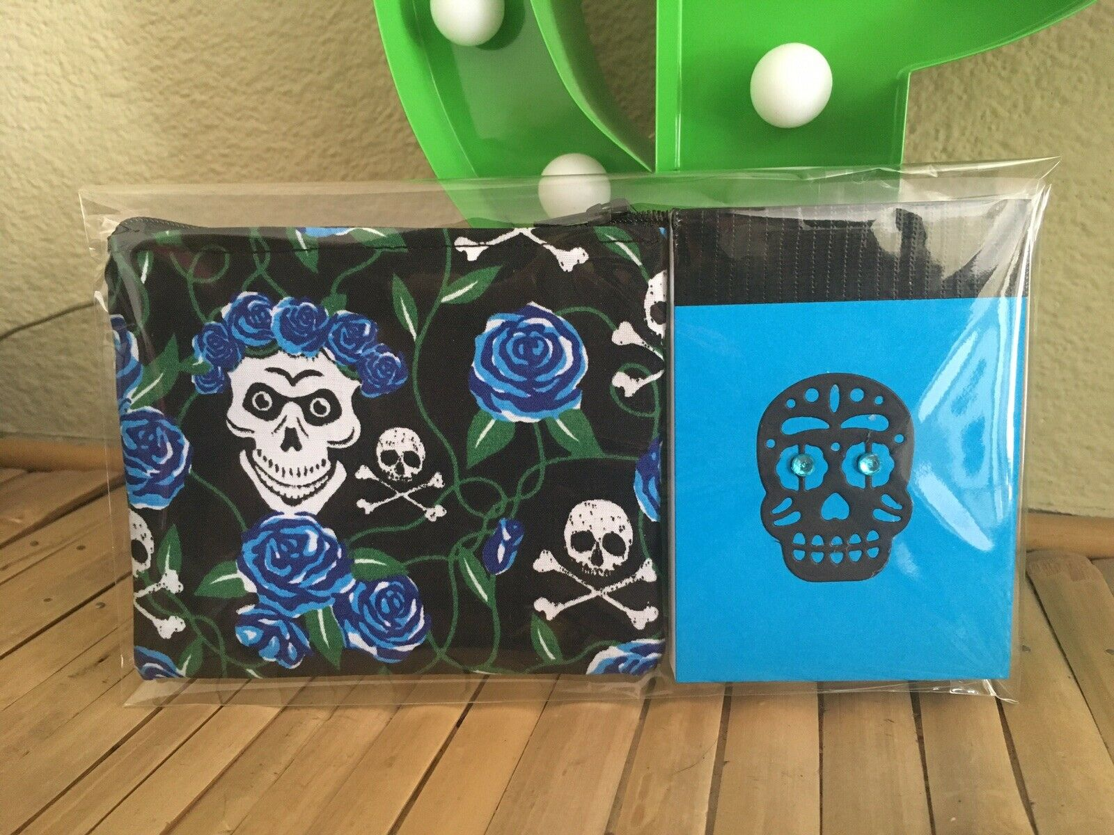 Sugar Skull Day Of The Dead Jewel Notebook +Purse Blue/black 2pc Goth Gift Set