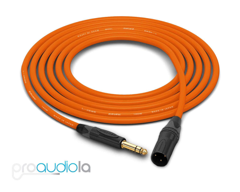 Canare Quad L-4E6S Cable   Neutrik Gold TRS XLR-M   Orange 275 Feet   275 Ft.