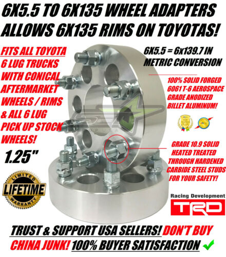 6X5.5 TO 6X135 WHEEL ADAPTERS 1.25 INCH USE FORD WHEELS ON TOYOTA 12X1.5 STUDS