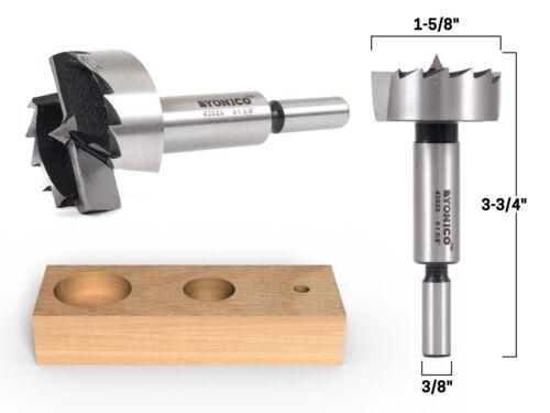 """1-5//8/"""" Diameter Steel Forstner Drill Bit Yonico 43025S 3//8/"""" Shank"""