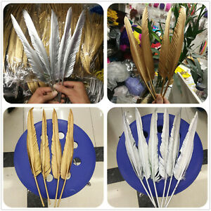 Wholesale-10-500pcs-Gold-Silver-30-35cm-12-14inches-Two-Sided-Turkey-feathers