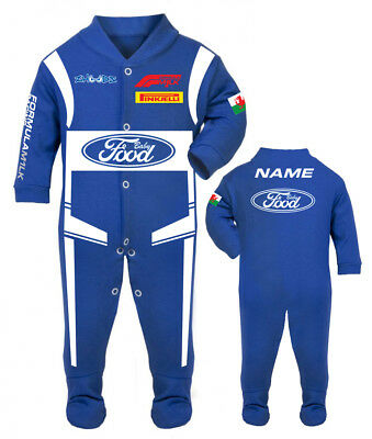 CAR RACING BABY GROW Babygrow Cibo Blu Baby Romper Tuta Da Corsa Made in UK