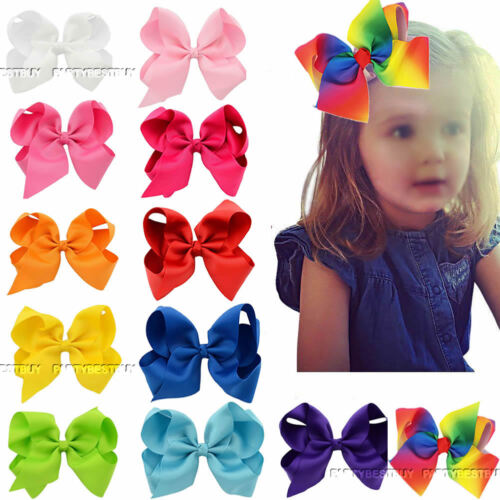12PCS 6 Inch Baby Girls Big Grosgrain Ribbon Boutique Hair Bows Alligator Clips