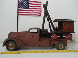 Vintage-1930-039-s-Metalcraft-pressed-steel-machinery-hauler-and-shovel