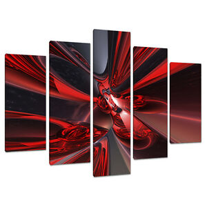 Image is loading 5-Piece-Abstract-Canvas-Art-Pictures-Large-Modern-