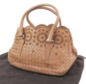 Auth-BOTTEGA-VENETA-Brown-Woven-and-Leather-Tote-Hand-Bag-Purse-31524