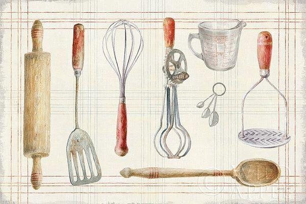 Danhui Nai  Floursack Kitchen IX Keilrahmen-Bild Leinwand Küche Back-Utensilien
