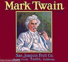 Tustin California Mark Twain Huck Finn Orange Citrus Fruit Crate Label Art Print