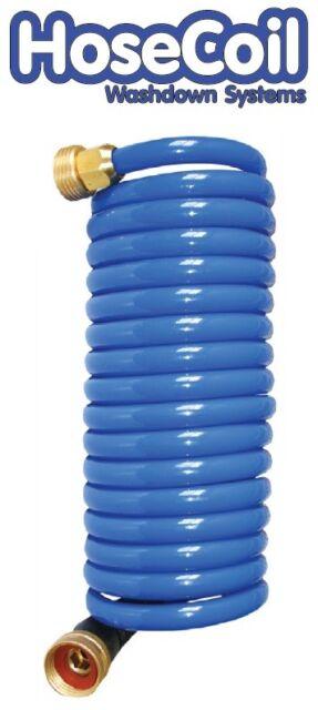 HoseCoil 15ft Blue Self Coiling Hose w//Flex Relief
