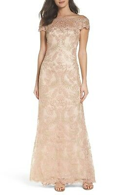 Tadashi Shoji Antique Pink Sequined Embroidered Lace Illusion Tulle Neck Gown