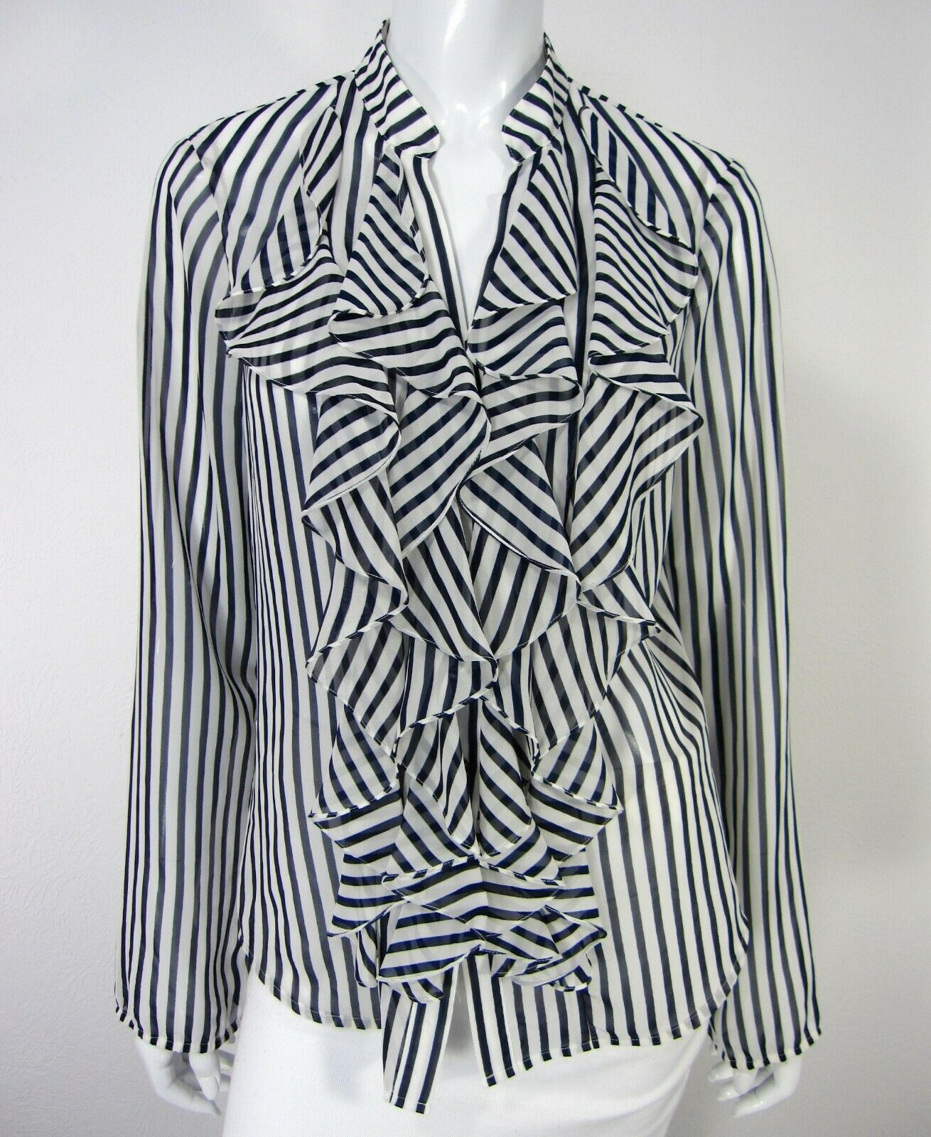 Cache NWT Long Sleeve TOP Blouse 10 Blau Weiß Striped Ruffled Neckline