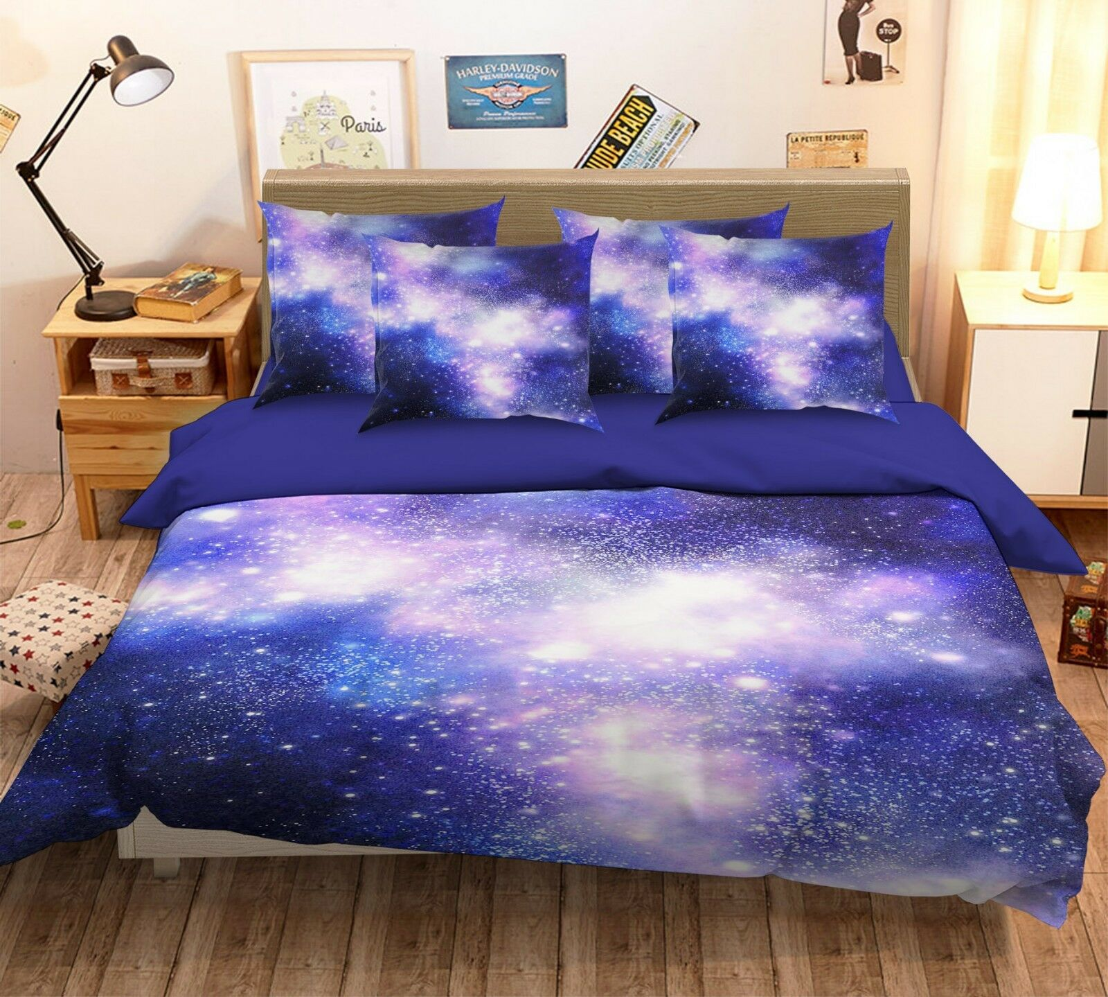 3D Purple Stars Sky 266 Bed Pillowcases Quilt Duvet Single Queen King US Summer