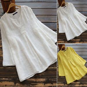 Mode-Femme-Decontracte-lache-Couleur-Unie-Manche-Longue-Col-V-Shirt-Tops-Plus