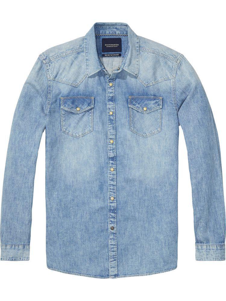 SCOTCH & SODA AMSTERDAM bluw Camicia DENIM WESTERN SHIRT 52 52 52 c2d4b4