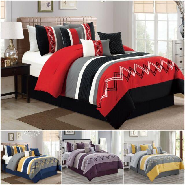 Pin Tuck Stripe Comforter Set King, Black Grey White Bedding Sets