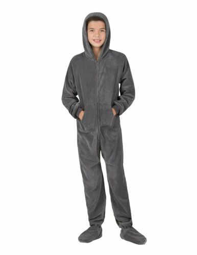 Footed Pajamas W// Hood Solid Dark Gray Chenille Sizes Toddler XL To Kids XL NWT