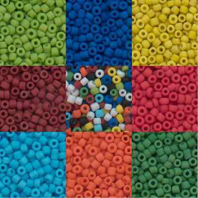 100g Opaque Frosted Seed Beads - 9 Colours & 3 Sizes 11, 8 & 6 to choose from