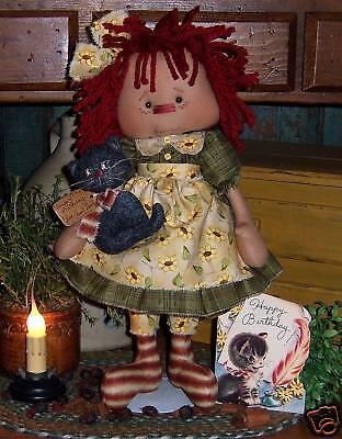 Primitive Raggedy Annie Ann Doll w// Flower Paper Pattern #510