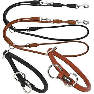 Rundleder-Hunde-Halsband-Wuerger-Hundeleine-Fuehrleine-Lederhalsband-Lederleine
