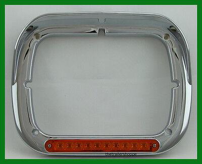 headlight bezel 6X8 single chrome plastic visor for Peterbilt International each