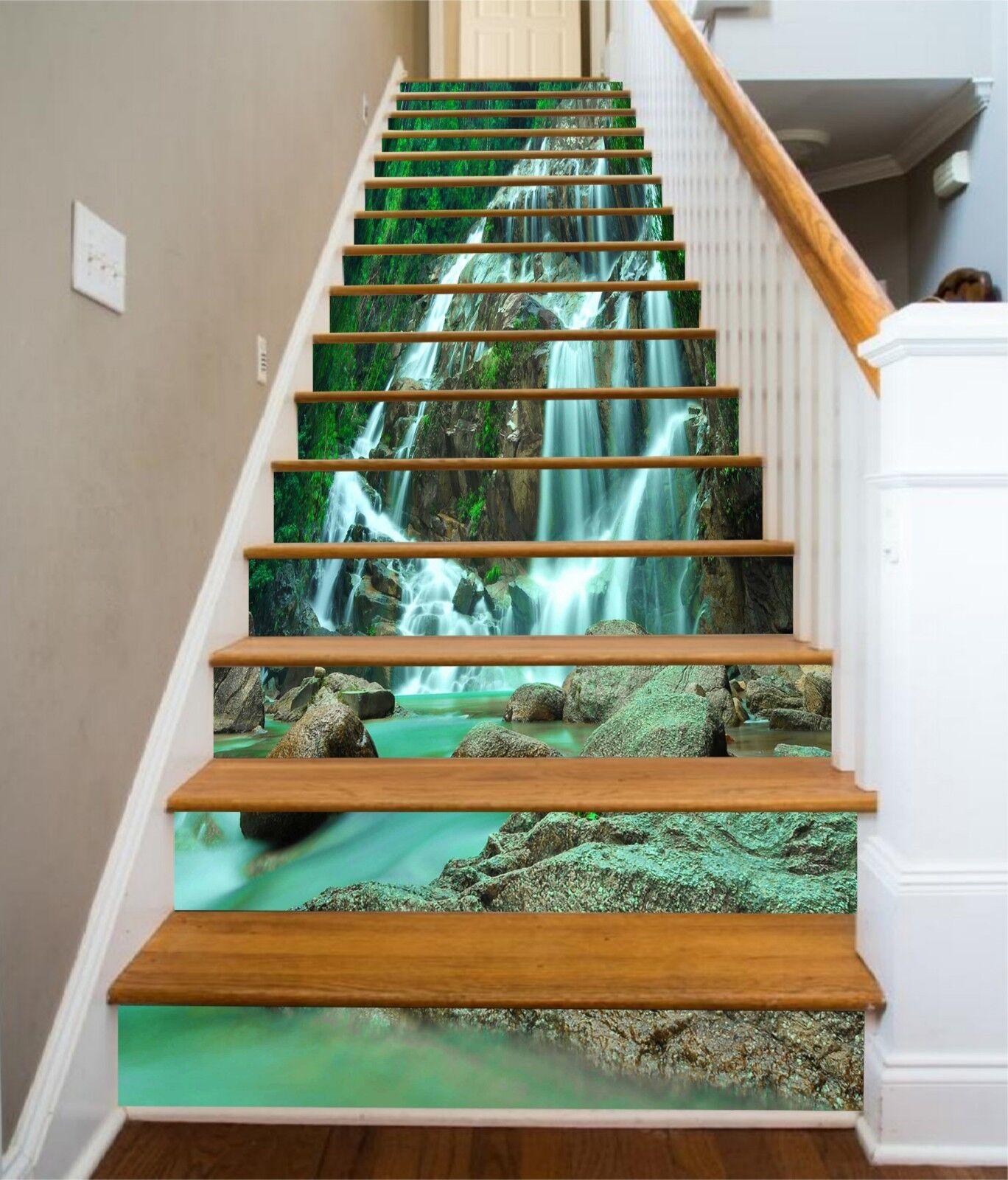 3D Stream Grün Stair Risers Dekoration Foto Mural Vinyl Decal Wallpaper UK