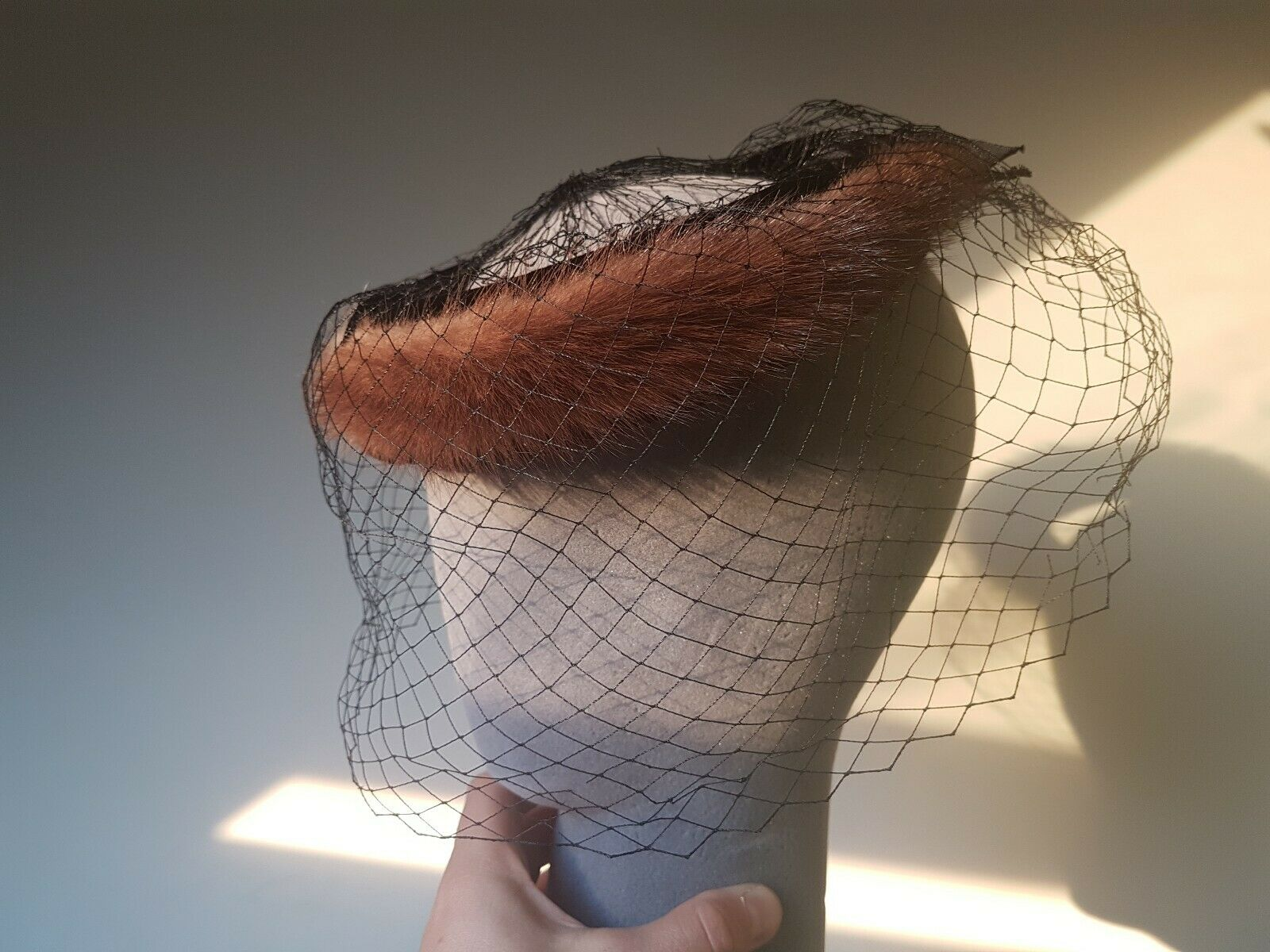 1950's fur and netting head piece