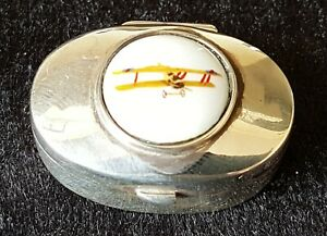 Sterling-silver-vintage-Art-Deco-antique-enamel-airplane-pill-box