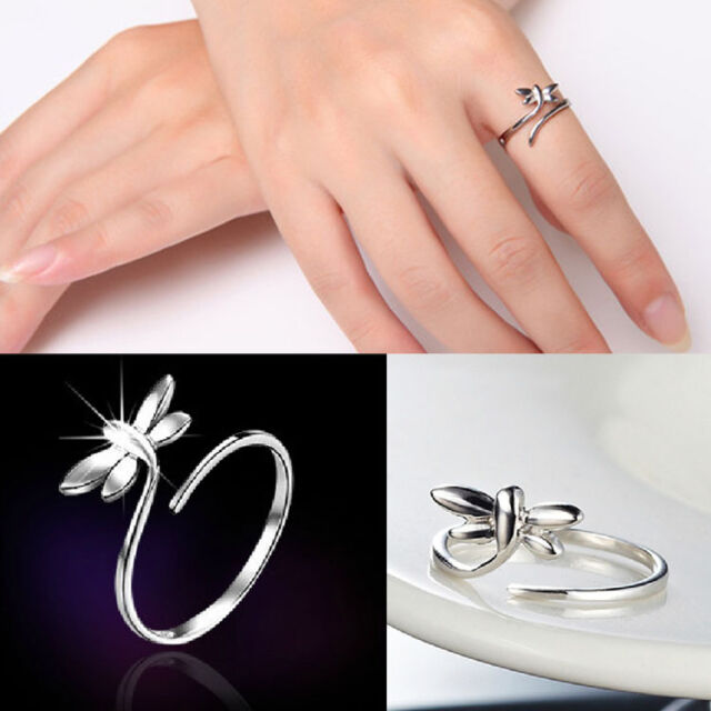 New Plated silver Fashion Silver Lady Ring Finger Opening Adjustable Dragonfly