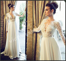 Simple V Neck Long Sleeves Bridal Gown Lace Beach Wedding Dress Size 2 4 6 8 +++