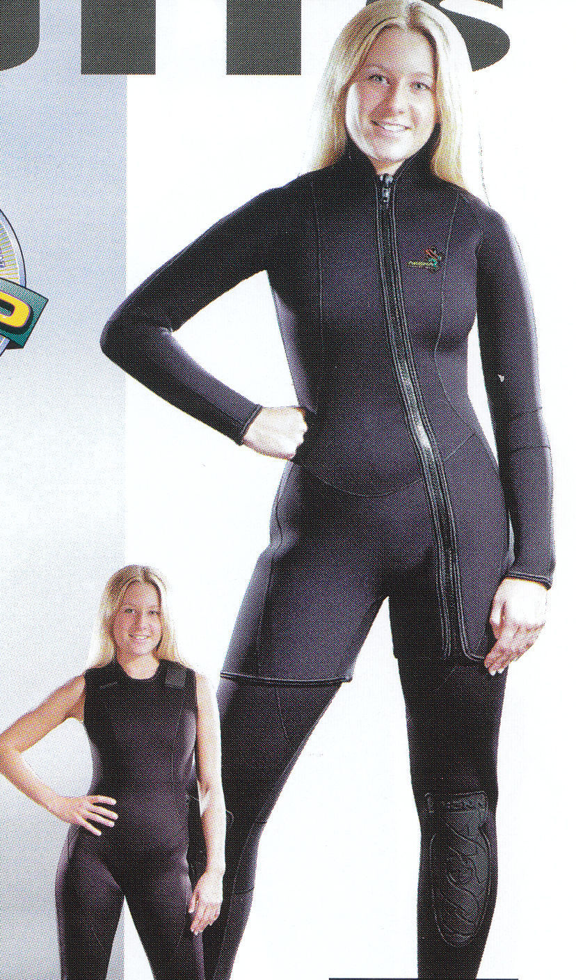 New Akona Women's 3mm Farmer Jane Two Piece Diving Wetsuit Sz 11 MADE IN USA