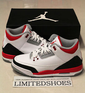 744aa19eaccc35 NIKE AIR JORDAN 3 III RETRO GS FIRE RED WHITE 398614-120 cement ...