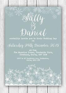 Personalised Winter Wonderland Christmas Wedding Invitations Packs