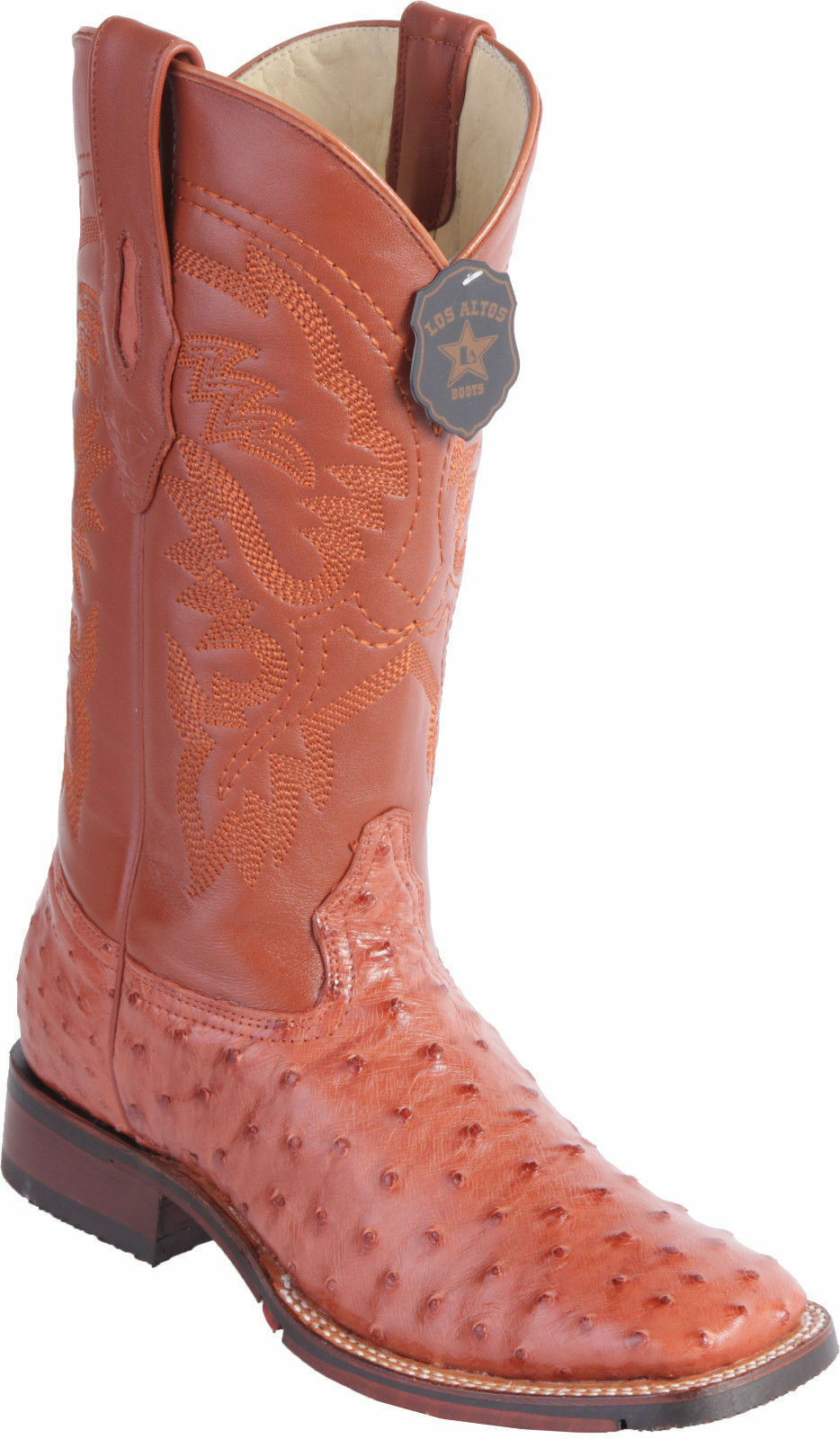 Los Altos COGNAC Ostrich Square Toe TPU Rubber Sole Western Cowboy Boot D