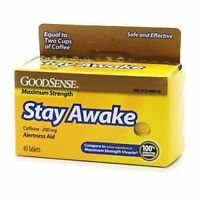 Stay Awake Caffeine 200mg Tablets 16 Count--3 Pack