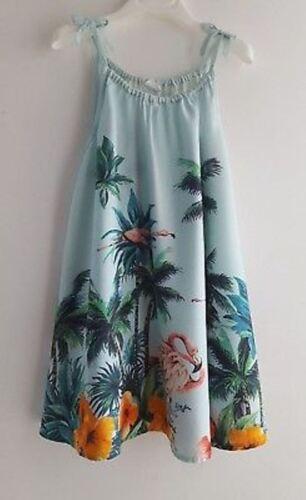 BNWT NEXT Girls Flamingo Tropical Print Strappy Sundress Summer Dress