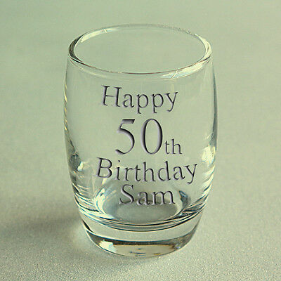 Personalised Engraved Birthday Shot Glass Sample 3 shot shapes available