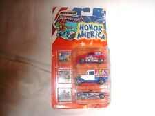 MATCHBOX AROUND THE WORLD COLLECTION HONOR AMERICA 3 DIECAST CARS AND 3 STAMPS